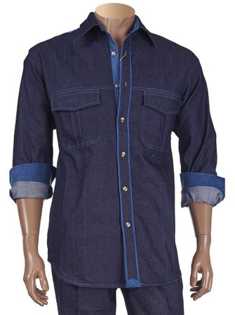 Inserch Mens Blue Denim Blue Suede Trim Casual Outfit 1282-11 IS - click to enlarge