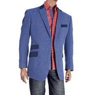Inserch Mens Blue Herringbone Blazer 504A1 Size M Final Sale