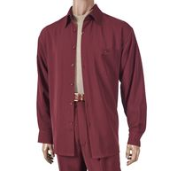 Inserch Mens Burgundy Solid Microfiber 2 Piece Set 13A56