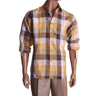 Inserch Mens Brown Check Plaid Linen Shirt 2407-25