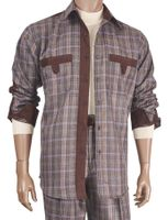 Inserch Mens Brown Suede Trimmed Plaid Walking Suit 133-25