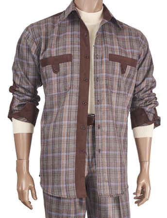 Inserch Mens Brown Suede Trimmed Plaid Walking Suit 133-25 - click to enlarge