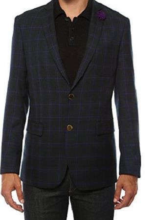 Ferrecci Mens Purple Plaid Slim Fit Blazer Sodi