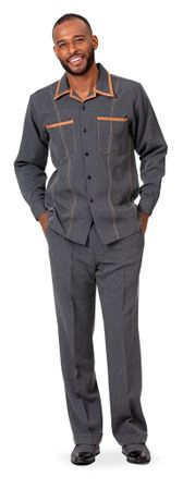 Montique Men's Black Denim Walking Suit Casual Outfit D-778