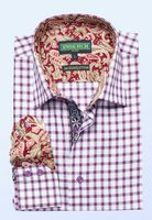 Inserch Mens Burgundy Small Check Cotton Shirt with Trim 2579-31