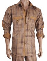 Inserch Mens Caramel Suede Trimmed Plaid Walking Suit 133-05 IS