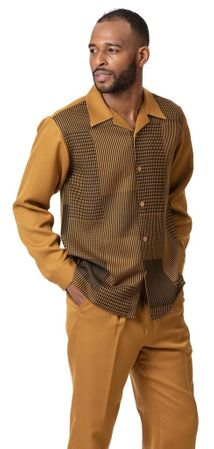 Montique Walking Suit Mustard Pattern Long Sleeve 2009 Size 3XL
