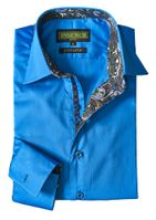 Inserch Mens China Blue Cotton Shirt with Trim 271-120
