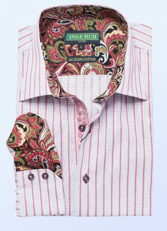 Inserch Mens Coral Check Stripe Cotton Shirt with Trim 2578-32 - click to enlarge