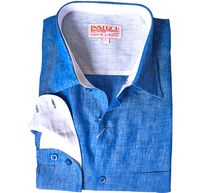 Inserch Mens Denim Blue Linen Shirt Long Sleeve 24116-10