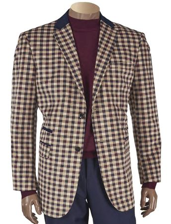 Inserch Mens Gingham Plaid Blazer Sport Jacket 505-07 - click to enlarge