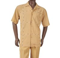 Inserch Mens Gold Cube Front Short Sleeve Walking Suit 80256-113