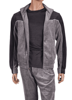Inserch Mens Gray Black Velour Set 139-33