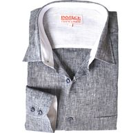 Inserch Mens Gray Heather Linen Shirt 24116-33