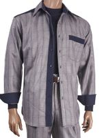 Inserch Mens Gray Suede Trimmed Plaid Walking Suit 121-33