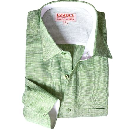 Inserch Mens Green Heather Linen Shirt 24116-123