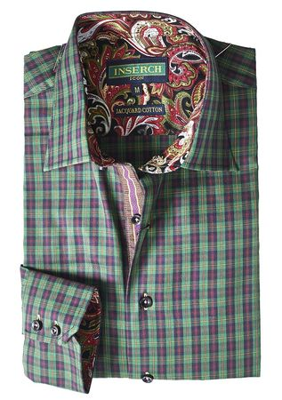 Inserch Mens Green Mini Checker Cotton Shirt with Trim 2577-63 - click to enlarge