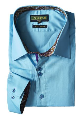 Inserch Mens Ice Blue Cotton Shirt with Trim 271-92 - click to enlarge