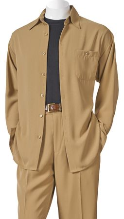 Inserch Mens Khaki Long Sleeve Microfiber Walking Suits 136A56 - click to enlarge