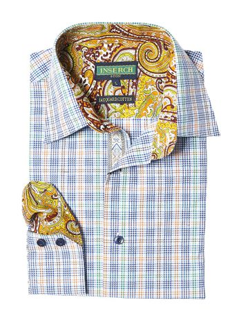 Inserch Mens Multi Color Plaid Cotton Shirt Paisley Trim 2614-66 - click to enlarge