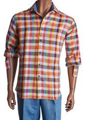 Inserch Mens Multi Small Check Plaid Linen Shirt 2411-66