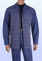 Inserch Men's Denim Blue Plaid Casual Walking Outfit 135 IS