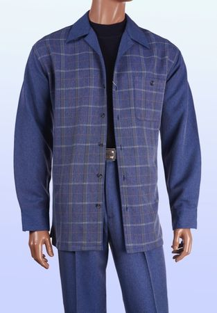 Inserch Men's Denim Blue Plaid Casual Walking Outfit 135 IS - click to enlarge