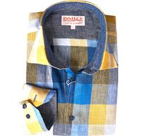 Inserch Mens Navy Check Plaid Linen Shirt 2407-11