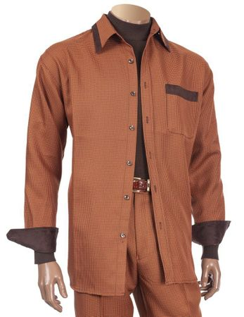 Inserch Walking Suit Rust Houndstooth Trim Outfit 144-42
