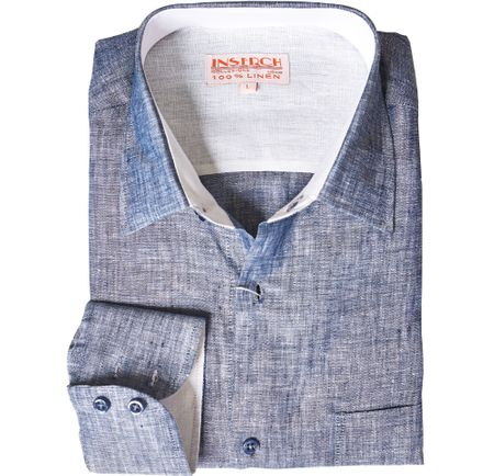 Inserch Mens Navy Heather Linen Shirt 24116-11