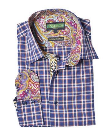 Inserch Mens Navy Plaid Cotton Shirt Paisley Trim 2617-11 - click to enlarge