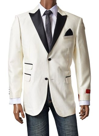 Inserch Mens Off White Leather Lapel Sport Jacket 5258-03 Size Large Final Sale - click to enlarge