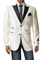 Inserch Mens Off White Leather Lapel Sport Jacket 5258-03 Size Large Final Sale