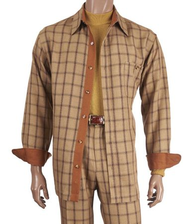 Inserch Men's Beige Plaid Casual Walking Outfit 134