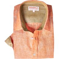 Inserch Mens Papaya Color Linen Shirt 24116