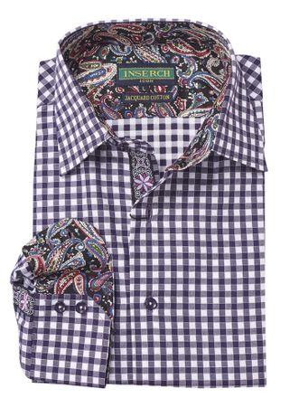 Inserch Mens Purple Gingham Plaid Cotton Shirt with Trim 2584-126 - click to enlarge