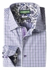 Inserch Mens Purple Mini Checker Cotton Shirt with Trim 2569-126