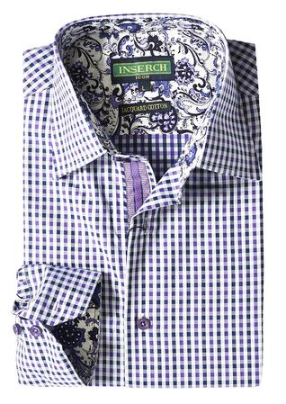 Inserch Mens Purple Mini Checker Cotton Shirt with Trim 2569-126 - click to enlarge