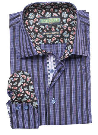 Inserch Mens Purple Mini Checker Cotton Shirt with Trim 2575-126 - click to enlarge
