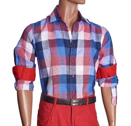 Inserch Mens Red Check Plaid Linen Shirt 2407-30