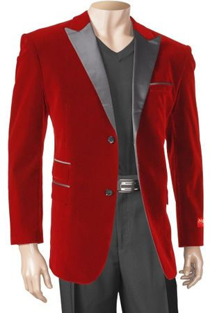 Inserch Mens Red Velvet Blazers 525 Size L, XL
