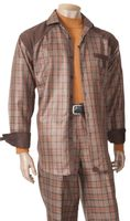 Inserch Mens Rust Plaid Walking Set with Suede Trim 115