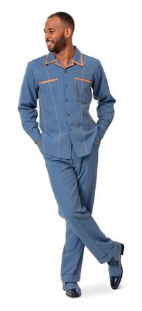 Montique Men's Blue Denim Walking Suit Casual Outfit D-778
