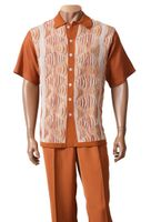 Inserch Mens Rust Sweater Front Short Sleeve Outfit 712