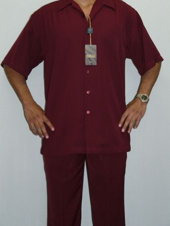 Inserch Mens Short Sleeve Burgundy Micro Fiber Walking Suit 9356 IS - click to enlarge