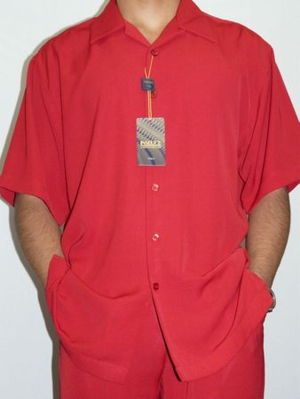 Inserch Mens Short Sleeve Red Micro Fiber Walking Suit 9356