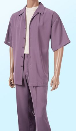 Inserch Mens Short Sleeve Purple Micro Fiber Walking Suit 9356 IS - click to enlarge