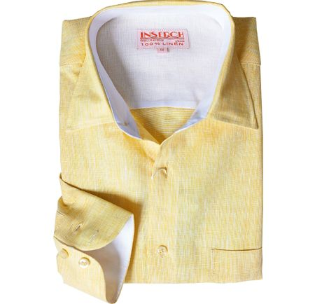 Inserch Mens Summer Yellow Linen Shirt 24116-111