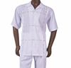 Inserch Mens White Pattern Short Sleeve Walking Suit 80256-02