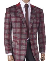 Inserch Mens Wine Gray Plaid Blazer 505-31 Size M Final Sale